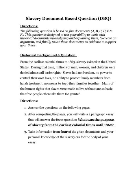 dbq essay outline template slavery dbq ch 3
