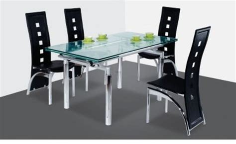 modern dining table w extendable glass top design