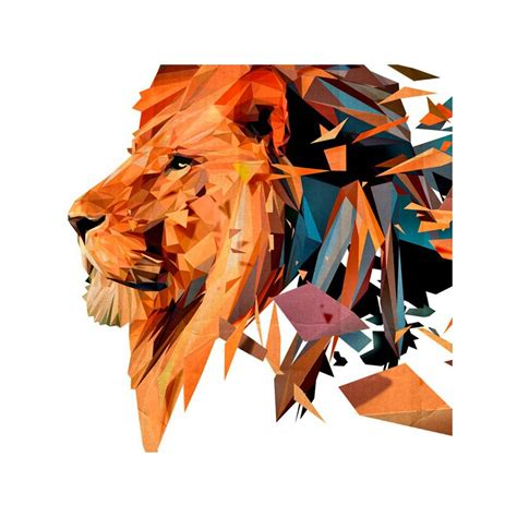 Geometric Wall Stickers animals vinyl with multicolor lion in polygons