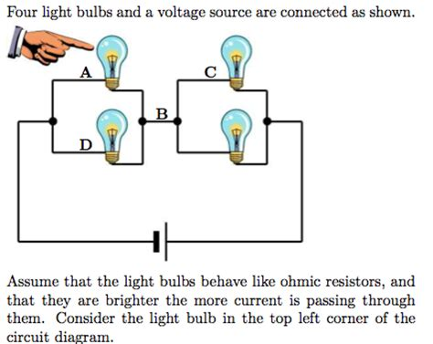 is a light bulb like a resistor four light bulbs and a voltage source are connecte chegg