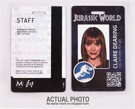 jurassic world id card template jurassic world park replica prop id badge card