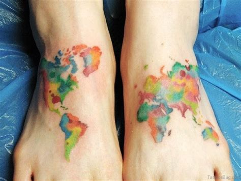 watercolor tattoos on foot 47 map tattoos for foot