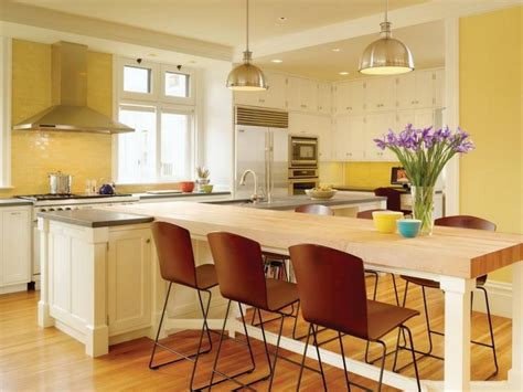 Kitchen Island Dining Table Combo by Yellow Combo Kitchen Design With White Island And Dining