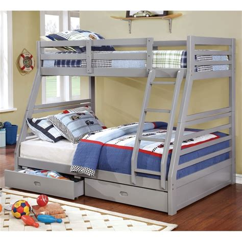 cymax beds furniture of america thaddeus twin over full bunk bed in