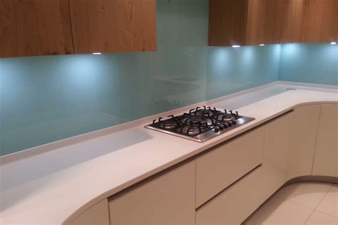 solid glass kitchen backsplash production and installation