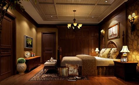 dark brown living room dark brown classic bedroom design rendering night