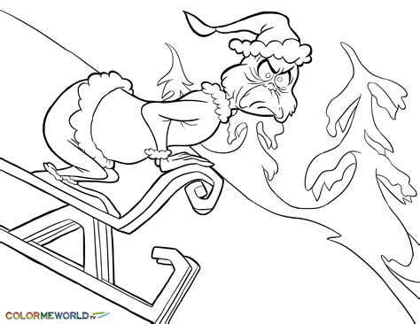 Grinch On Sled Pdf Printable Coloring Page The Grinch Free Grinch Coloring Pages