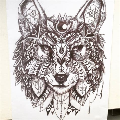 pattern drawing animals geometric wolf design by maddiecadecade on deviantart