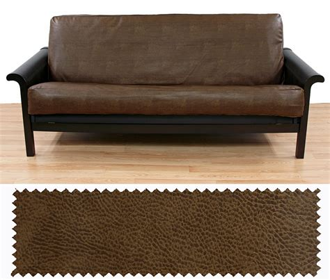 faux leather slipcovers faux leather tobacco futon cover