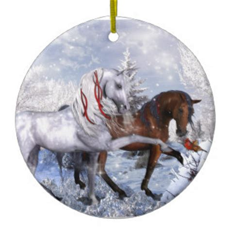 christmas holiday horses double sided ceramic round