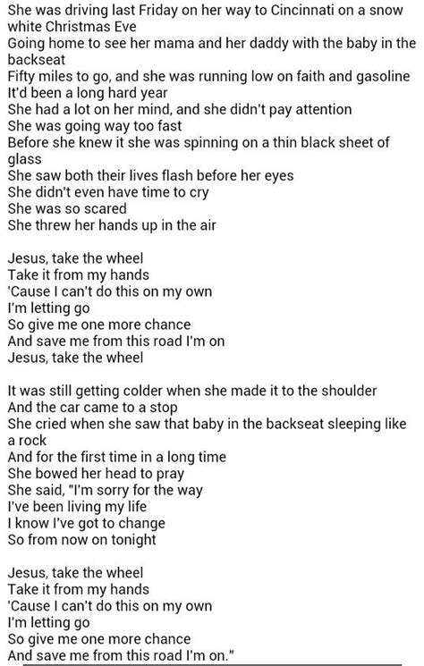 printable lyrics to jesus take the wheel 1000 images about my fav singers on pinterest