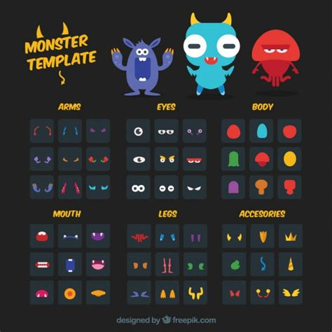 monster template kit vector free download