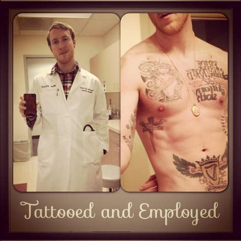 tattoo doctor a doctor has a his lab coat tattoos