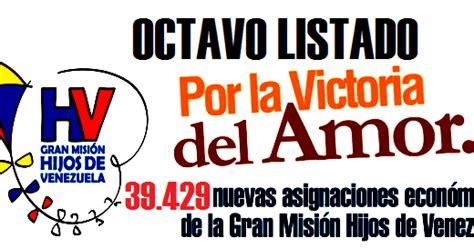 beneficiarios de la mision hijos de venezuela 2016 octava lista de beneficiarios de misi 243 n hijos de venezuela