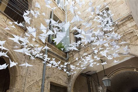 origami installation origami cranes become gorgeous installation boing boing