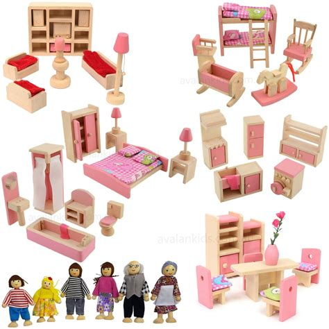 wooden dolls house furniture set wooden dolls house furniture 6 doll set 6 room miniature kids pretend play aud