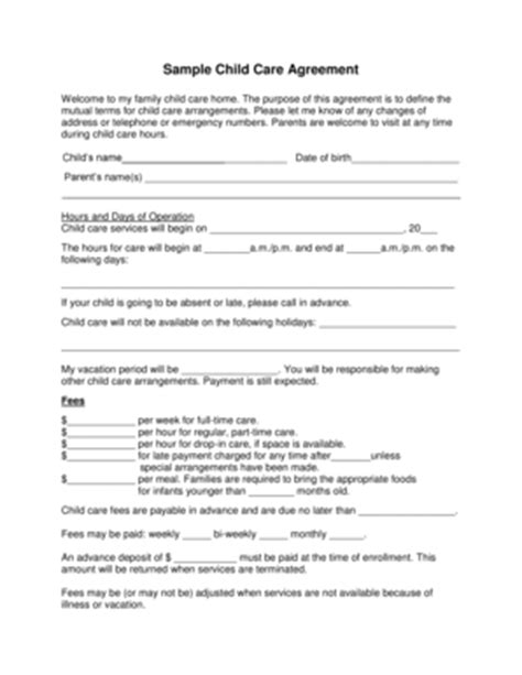 Childcare Fill In The Blanks Sle Fill Online Printable Fillable Blank Pdffiller Daycare Contract Templates Free