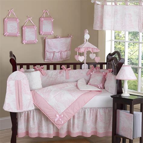 Luxury Boutique French Pink White Toile Discount 9pc Baby Luxury Nursery Bedding Sets
