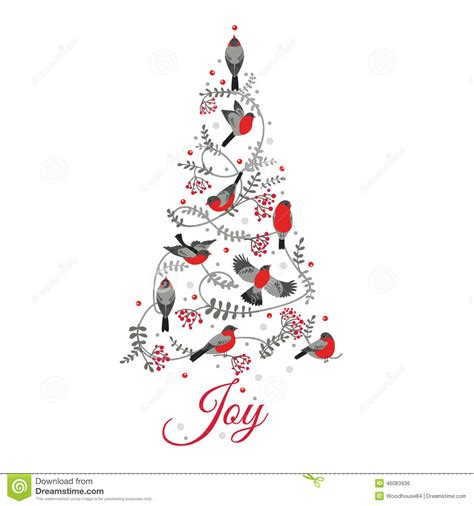 birds on christmas tree stock vector image of card