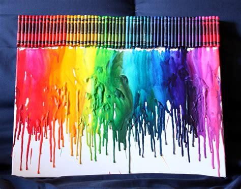 artwork ideas how to make rainbow melted crayon
