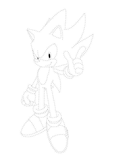 Desenho do Super Sonic pontilhado para imprimir