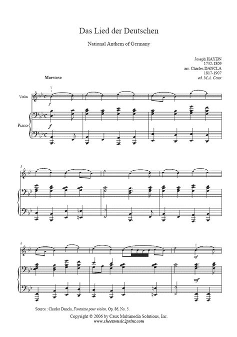 national anthem germany das deutschlandlied violin sheetmusic2print com