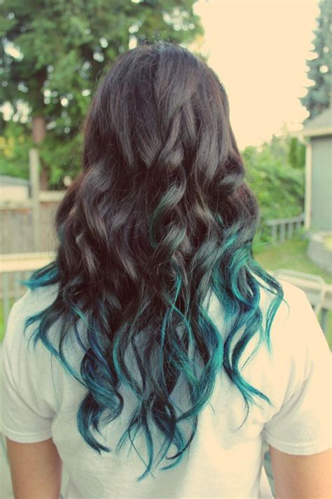 7 Tips For Dying Your Hair Brown by Brown Hair With Teal Dip Dye Www Pixshark Images