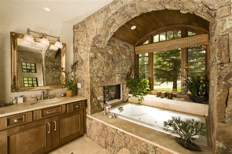 bathroom with fireplace rustic luxury how to get this new d 233 cor trend at home