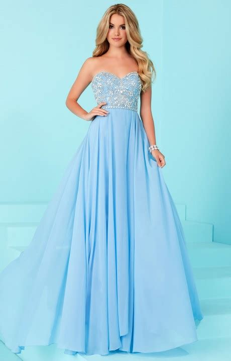tiffany designs  strapless chiffon prom dress