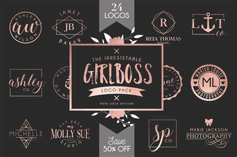 Girlboss Logo Template Bundle Sale Templates Creative Market Modern Logo Template