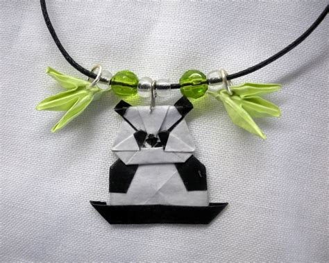 Origami Necklace Charms - origami panda charm necklace by squeejie on deviantart
