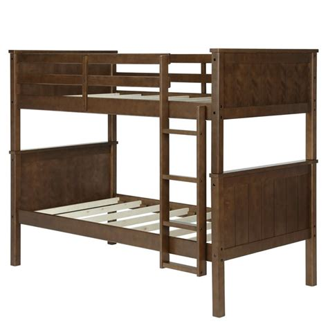 Twin Over Twin Bunk Bed In Mocha Dl1008bb Living Home Bunk Bed
