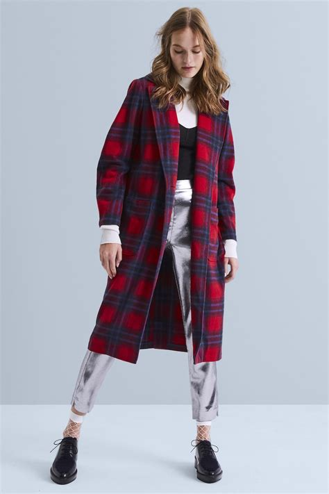 Plaid Single Button Coat editorial top coats for winter 2017 nawo