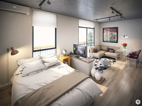 colorful modern apartment design uses space to beautiful small studio apartments with beautiful design efficient
