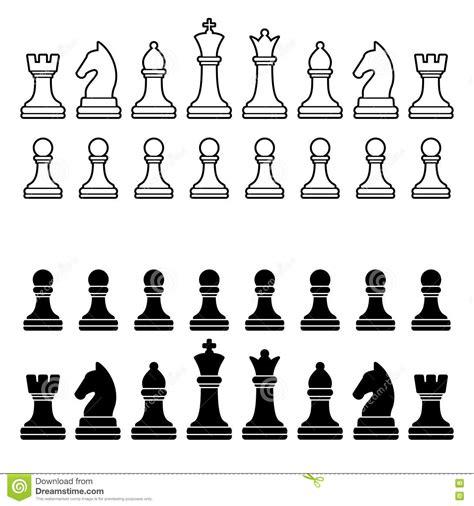 Set Aa Black White chess pieces silhouette black and white set stock