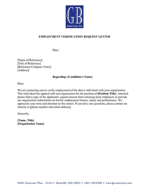Employment Verification Letter Template search results for previous employment verification