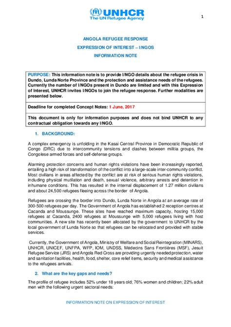 Response Letter Of Interest Document Angola Emergency Response Expression Of Interest I Ngos