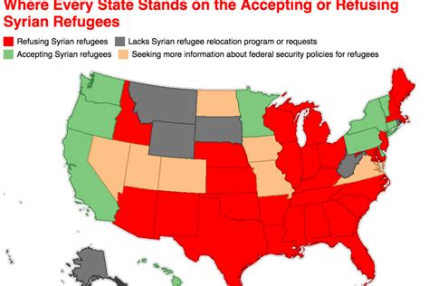 map of us states refusing refugees map every state accepting and refusing syrian refugees