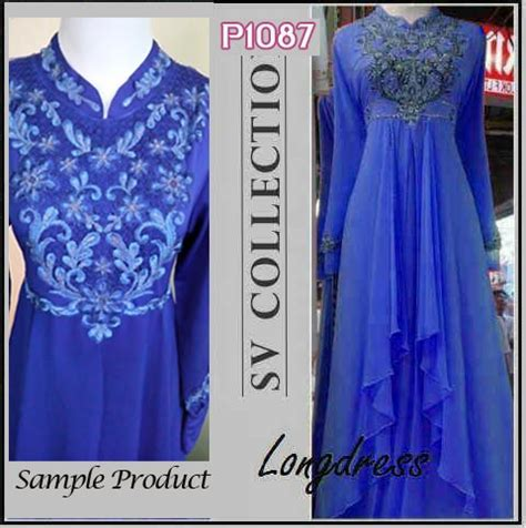Gaun Biru Besar baju gamis pesta p1087 bordir busana modern