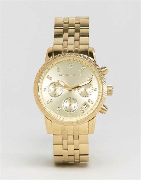 michael kors michael kors ritz glitz gold chronograph