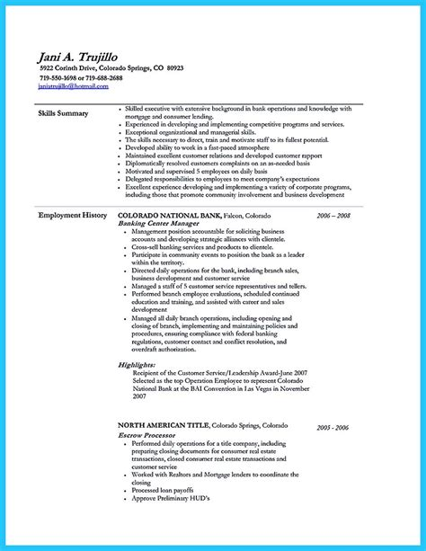 Resume Objective For Banking by One Of Recommended Banking Resume Exles To Learn