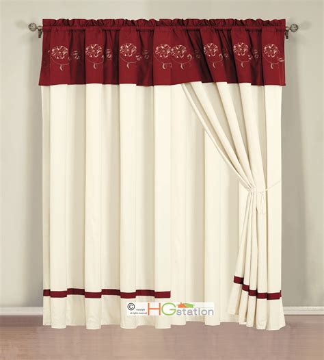 Valances Burgundy Color 4 P Embroidery Summer Floral Blossom Vine Curtain Set