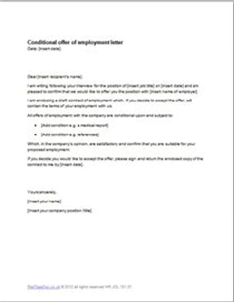 Letter Withdrawing Conditional Offer Of Appointment Conditional Offer Of Employment Letter Template Exle Redtapedoc