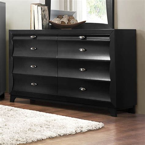 Black Bedroom Dressers Zandra 6 Drawer Dresser In Black Contemporary Bedroom Furniture