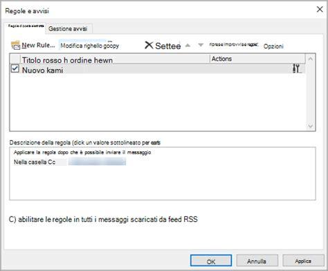 testo se una regola c è invio automatico di una copia dei messaggi inviati outlook