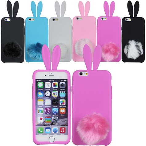 rabbit ears phone cover with fluffy for