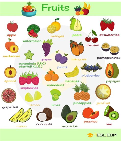 vegetables in fruits and vegetables vocabulary in 7 e s l