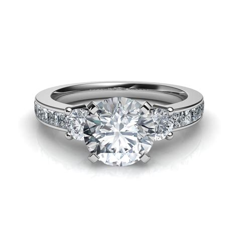 I Engagement Rings by 3 Princess Cut Channel Set Engagement Ring In 14k