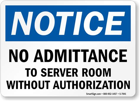 Sign Label Server Room no admittance to server room without authorization sign
