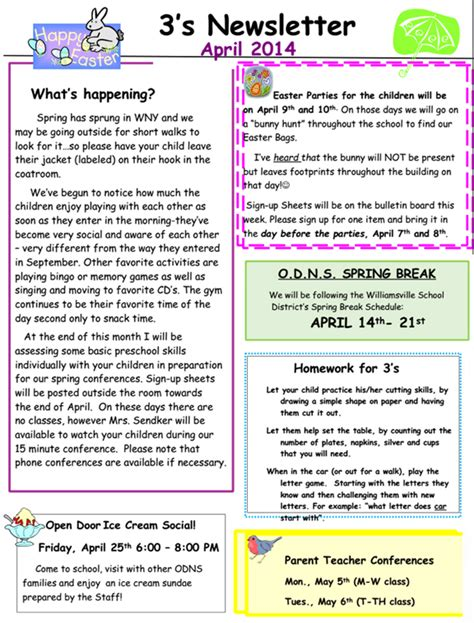 3 s april 2014 newsletter open door nursery school